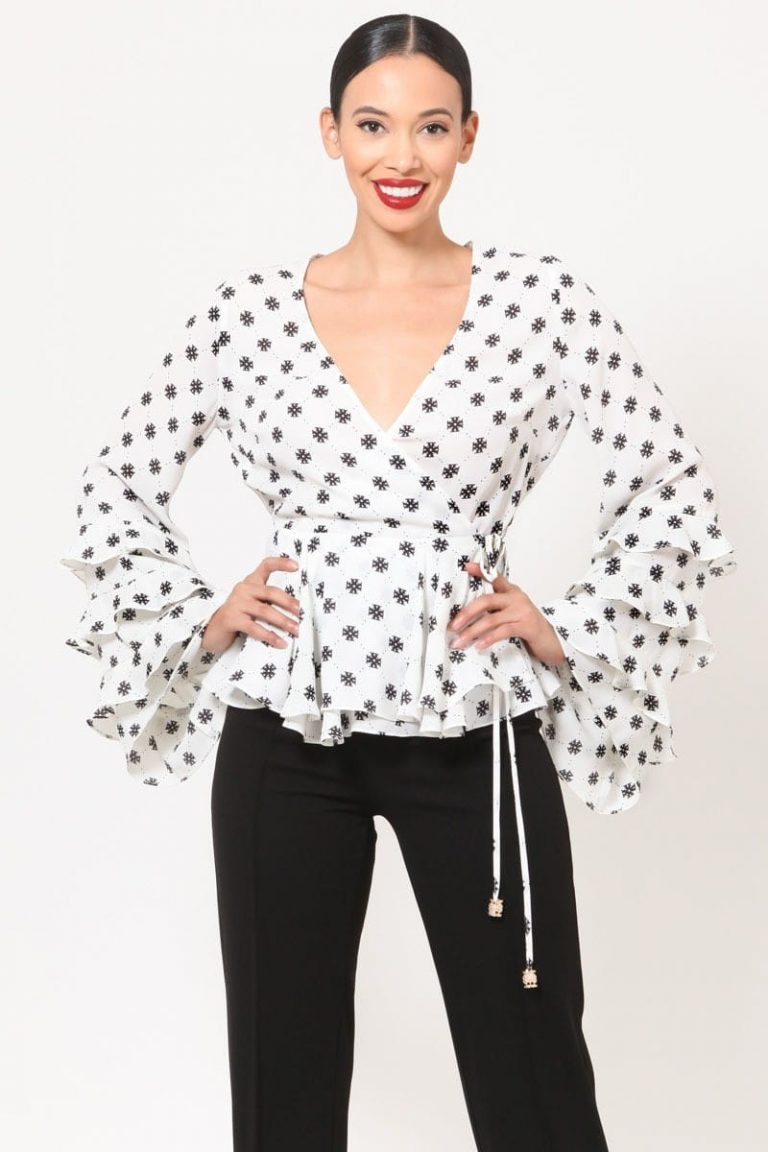 White Linda Layered Ruffle Bell Sleeves Print Top For Fall Winter Spring Summer