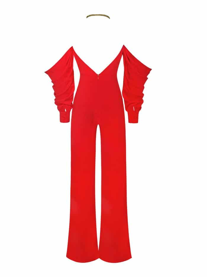 Halterneck Red Crepe Off Shoulder Jumpsuit 2