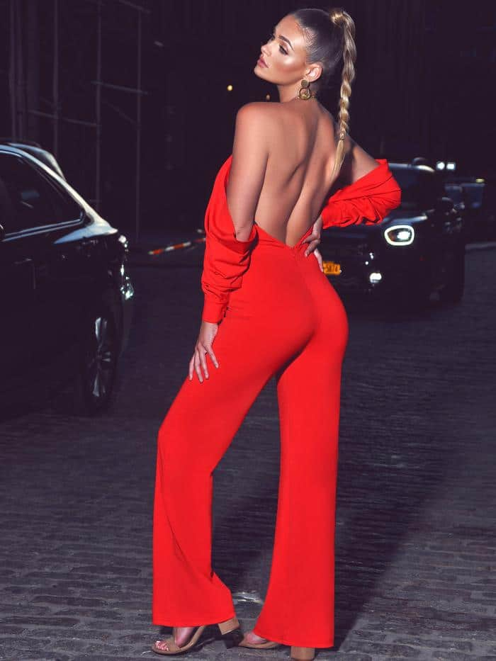 Halterneck Red Crepe Off Shoulder Jumpsuit 2 For Fall Winter Spring Summer