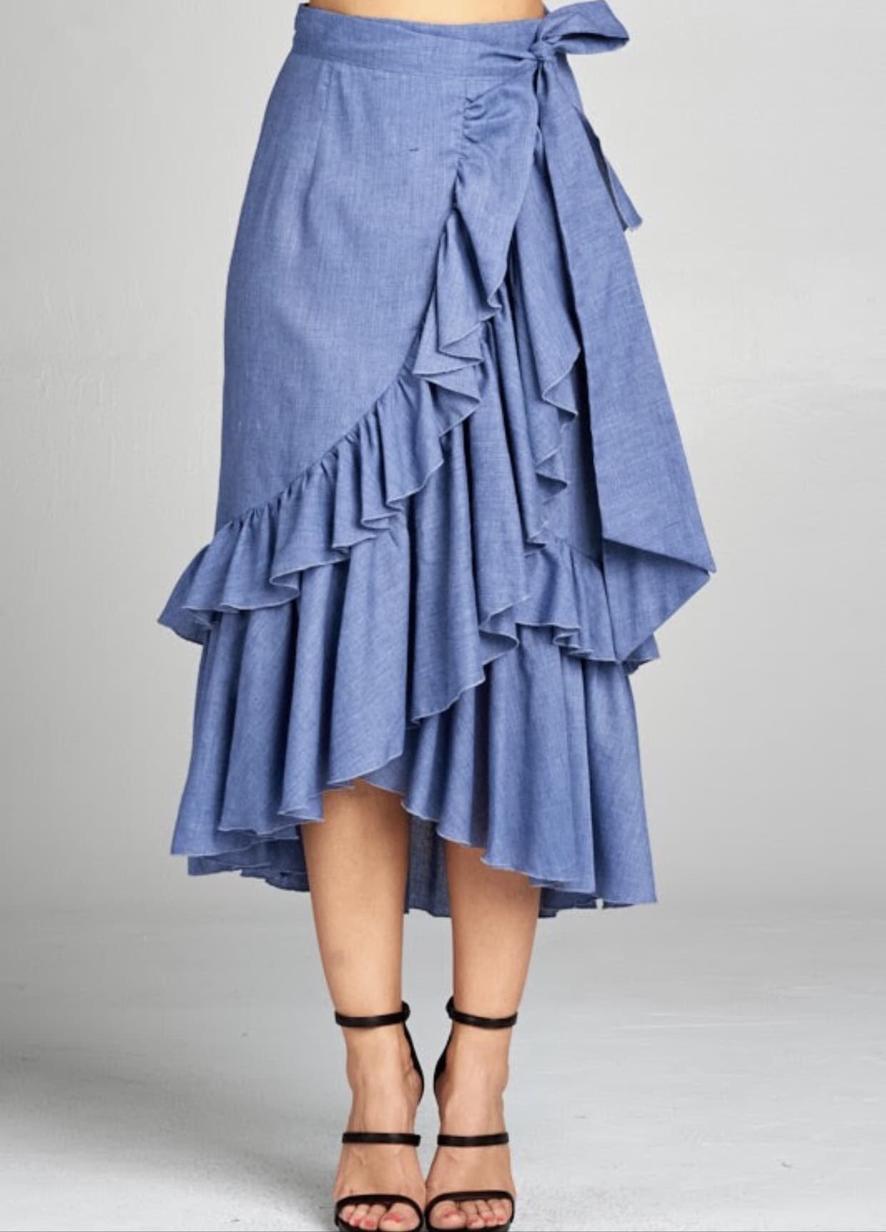 Airy Blue Ruffle Skirt For Fall Winter Spring Summer