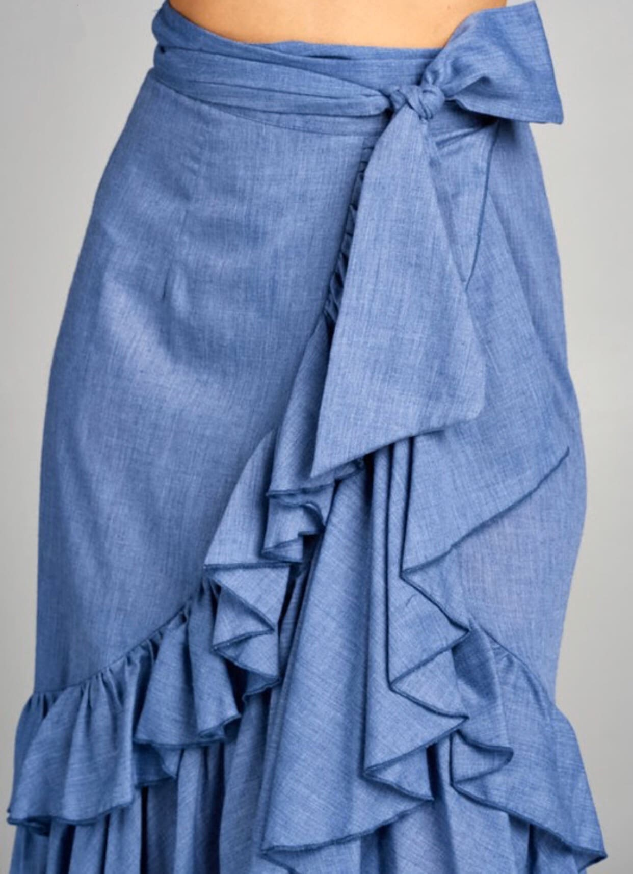 Airy Blue Ruffle Skirt