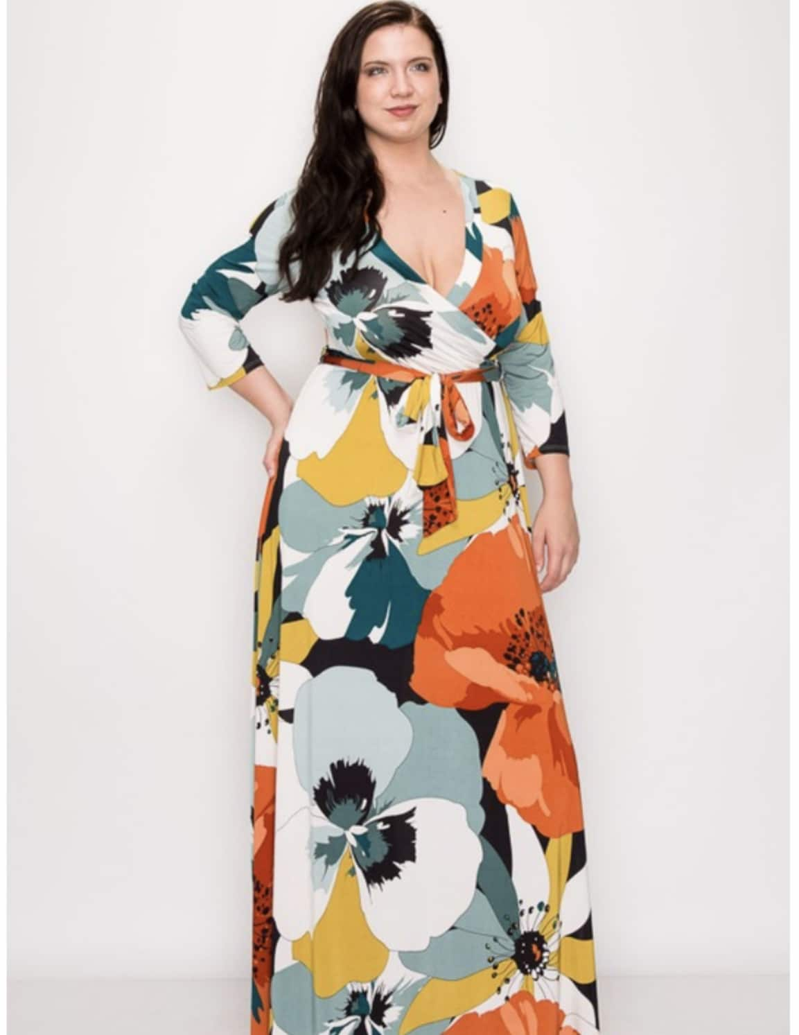 Gloria Venechia Print Maxi Wrap Dress - PLUS SIZE For Fall Winter Spring Summer