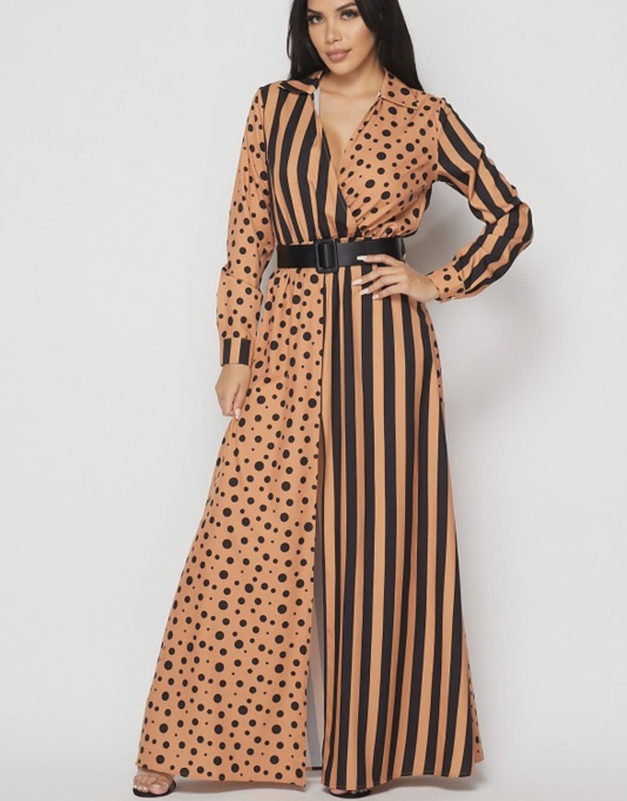 Uyanda Polka Dot x Stripes Maxi Dress For Fall Winter Spring Summer