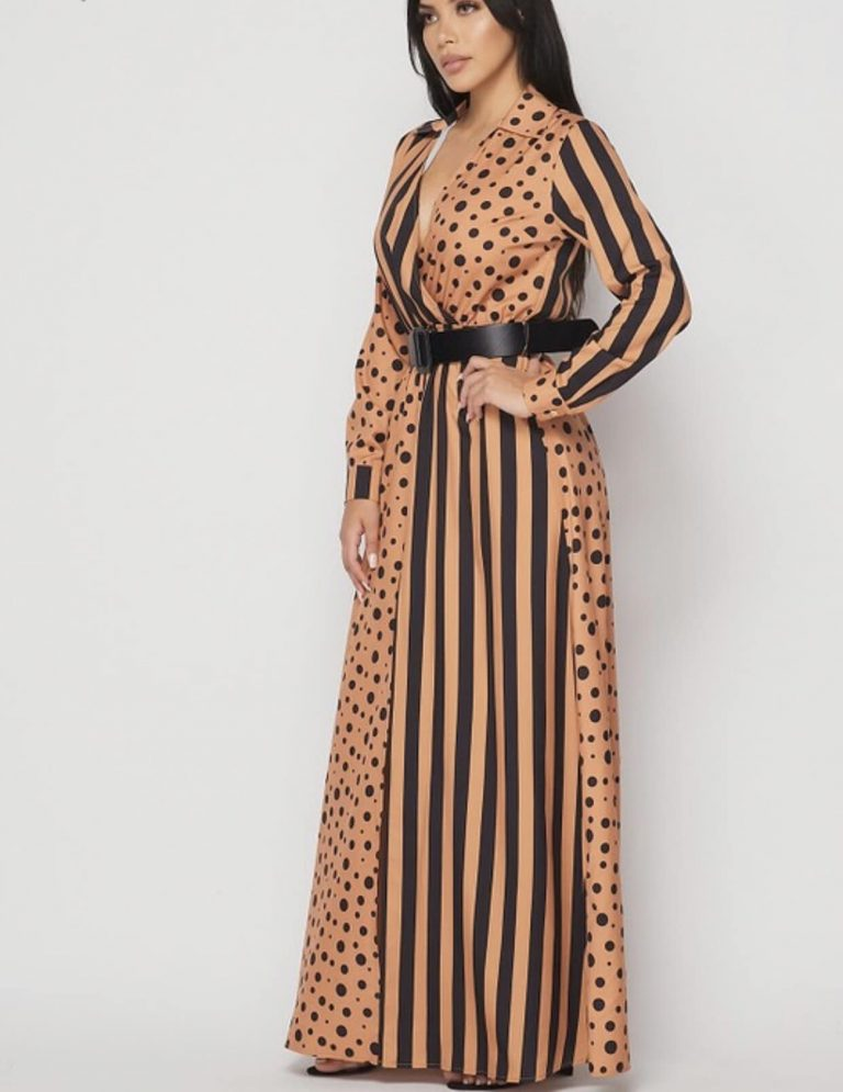 Uyanda Polka Dot x Stripes Maxi Dress