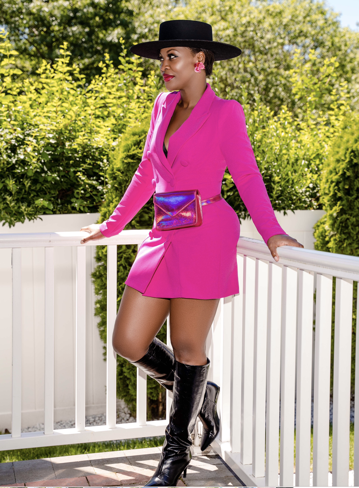 Ciara Pink Blazer Dress and Belt Bag