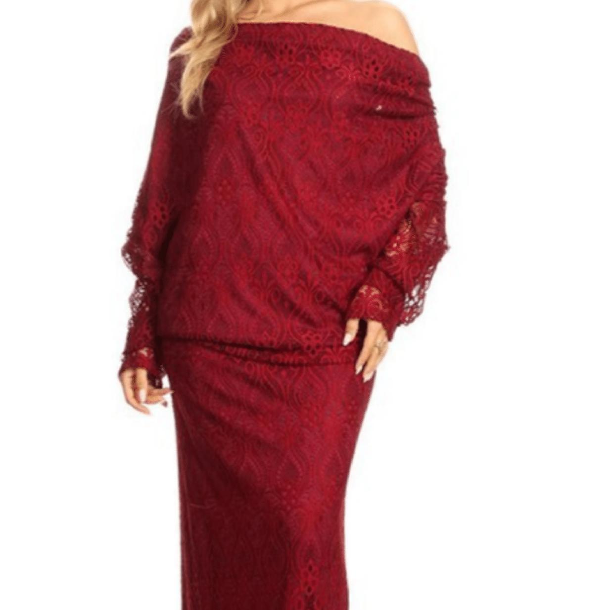 Kenya Off Shoulder Low Back Lace Maxi Dress