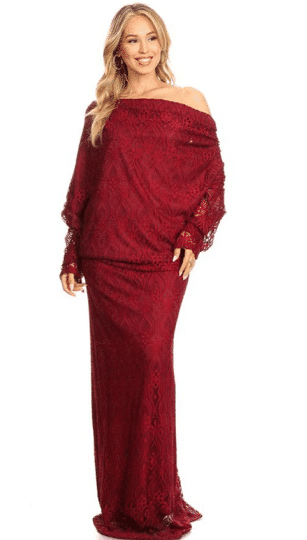 Burgundy Kenya Off Shoulder Low Back Lace Maxi Dress For Fall Winter Spring Summer