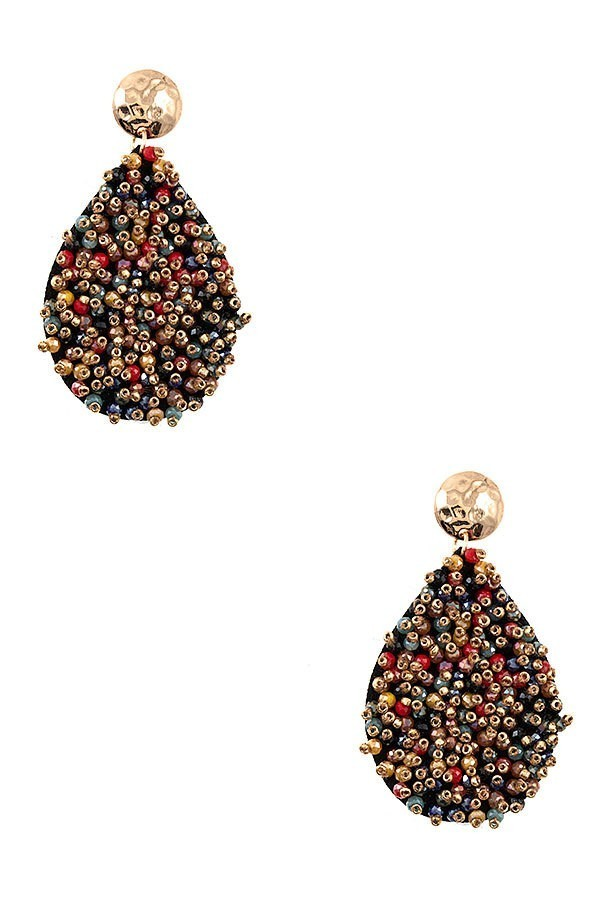 Multi Coloured Juliet Cluster Beaded Teardrop Earrings