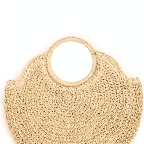 Olivia circular Raffia Bag