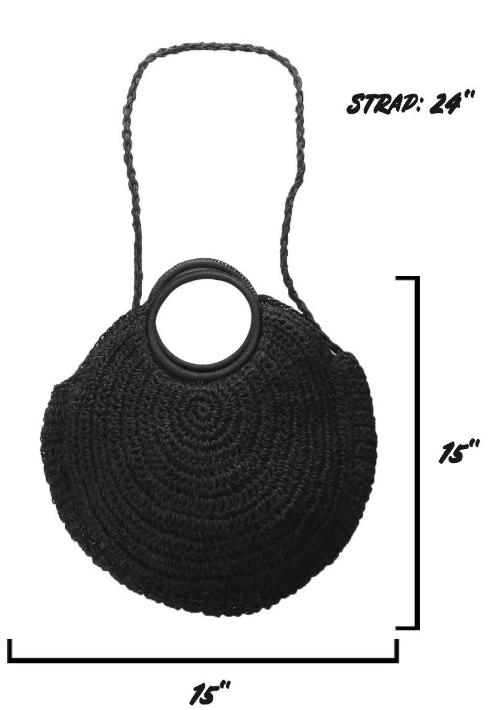 Olivia circular Raffia Bag 2