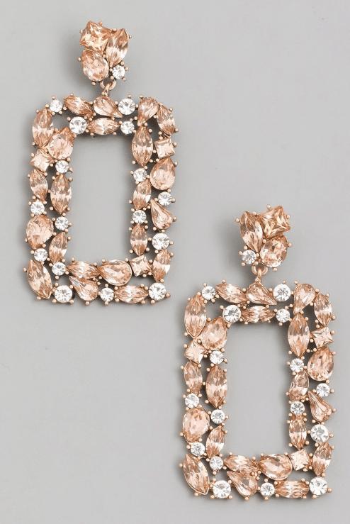 Peach Rhinestone Statement Drop Earrings