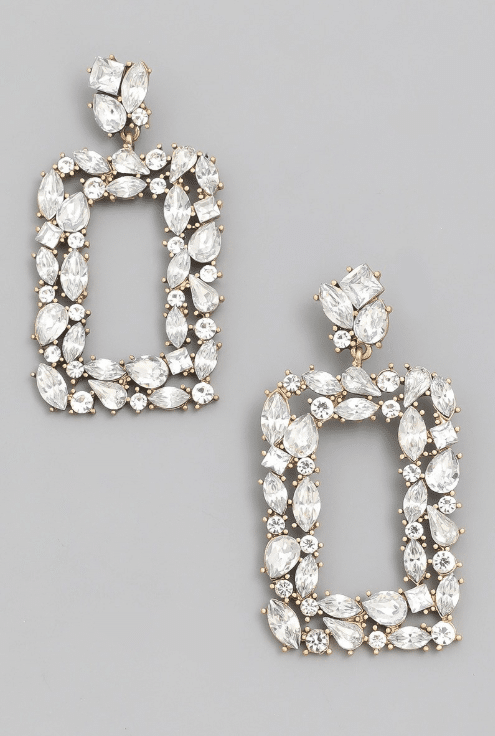 Clear Rhinestone Statement Drop Earrings