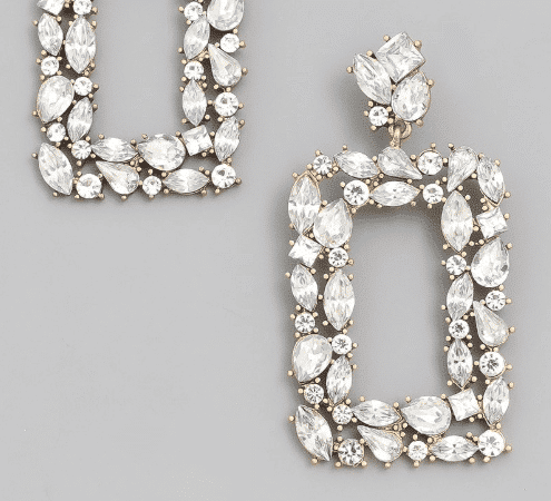 Clear Rhinestone Statement Drop Earrings For Fall Winter Spring Summer