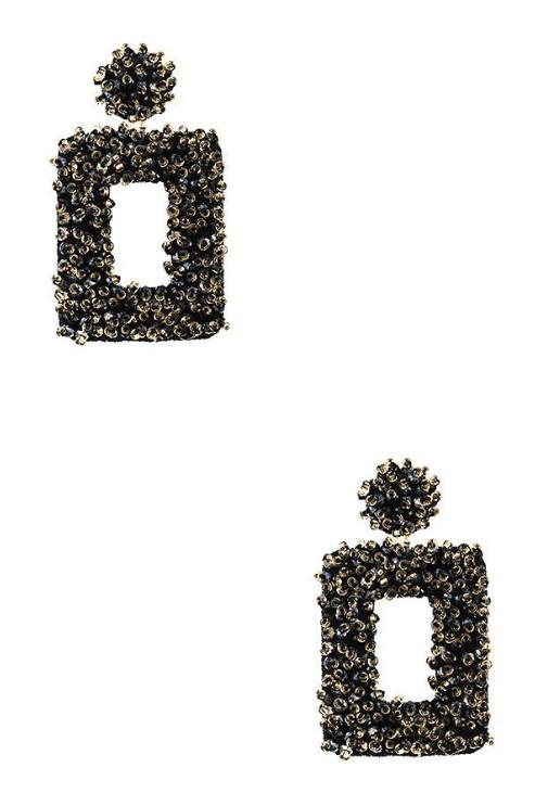 Dark Mint Beaded Open Square Drop Earrings
