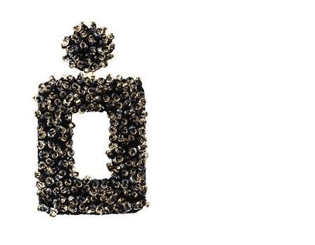 Dark Mint Beaded Open Square Drop Earrings For Fall Winter Spring Summer