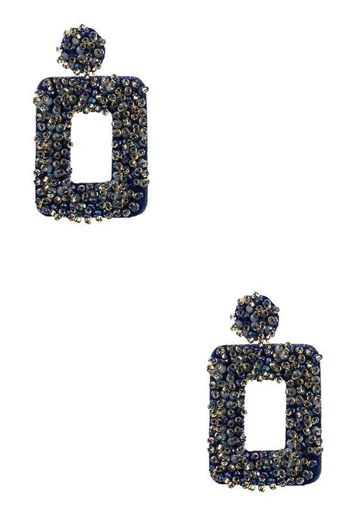 Blue Beaded Open Rectangle Drop Earrings