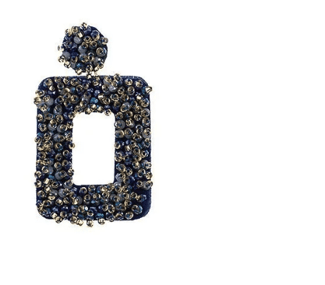 Blue Beaded Open Rectangle Drop Earrings For Fall Winter Spring Summer