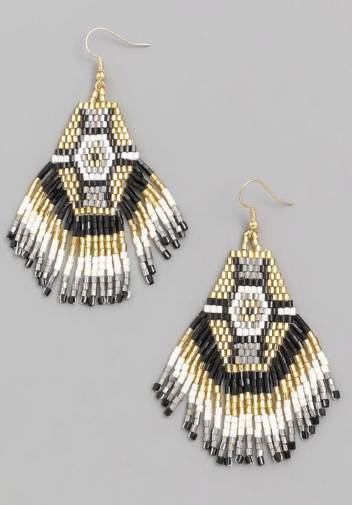 Mpho Fringe Beaded Earrings