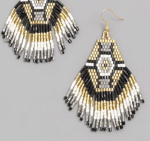 Mpho Fringe Beaded Earrings