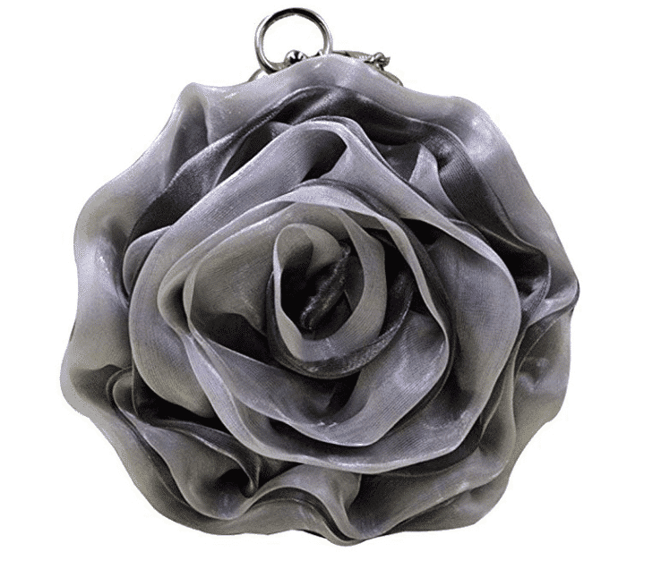 Simi Black Rose Satin Wristlet Clutch
