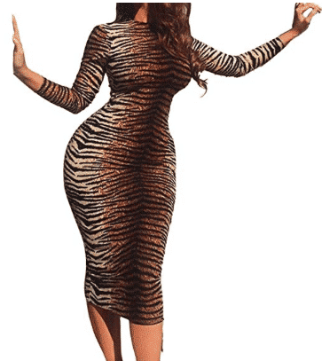 Kim Tiger Print Long Sleeve Bodycon Dress For Fall Winter Spring Summer