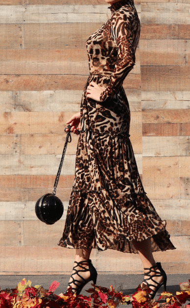 LEOPARD MESH LONG DRESS