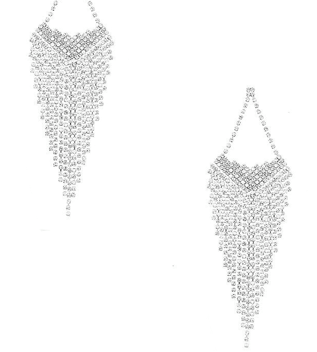 Jennifer Clear Fringe Earrings For Fall Winter Spring Summer