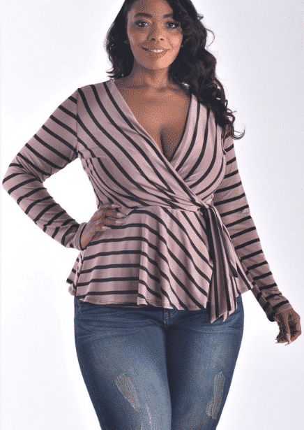 PLUS SIZE LONG SLEEVE SURPLICE STRIPE TOP For Fall Winter Spring Summer