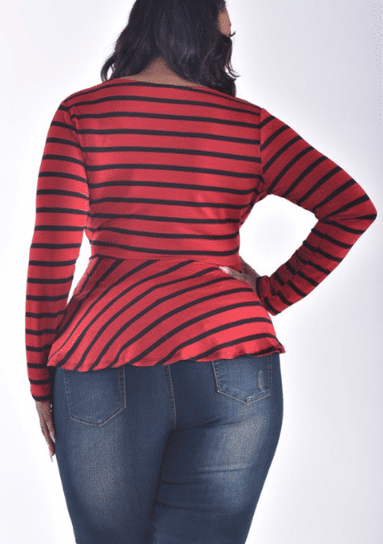 PLUS SIZE LONG SLEEVE SURPLICE STRIPE TOP