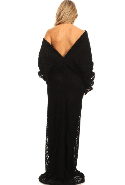 Kenya Off Shoulder Low Back Lace Maxi Dress
