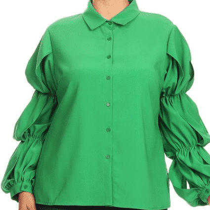 Green Hudson Solid long sleeve button down blouse with tiered puff sleeves and a collar For Fall Winter Spring Summer