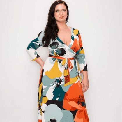 Gloria Venechia Print Maxi Wrap Dress - PLUS SIZE