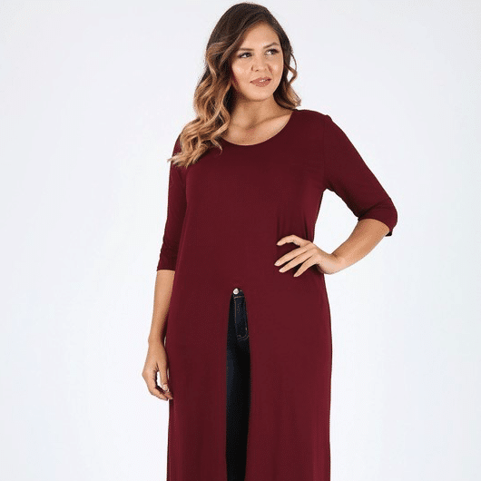 Burgundy So ​​Mary Slit front Maxi Top - PLUS SIZE