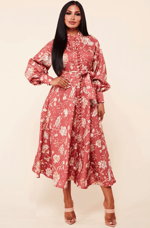 Rust Evelyn Floral Midi Dress For Fall Winter Spring Summer