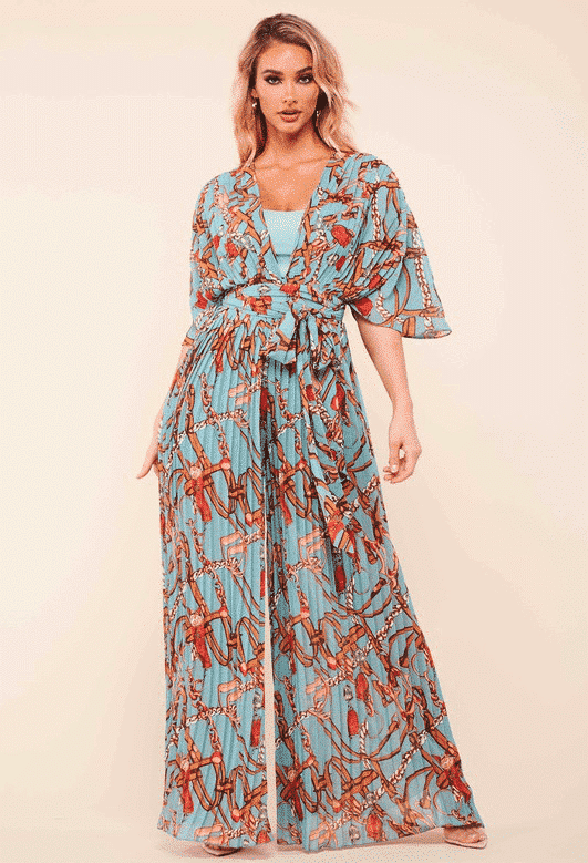 Blue Coral Pam Belted Print Jumpsuit For Fall Winter Spring Summer