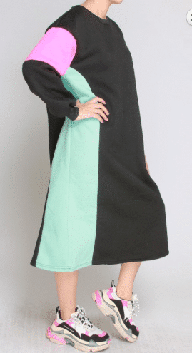 Liz Color Block long sleeve sweater Dress for women 2