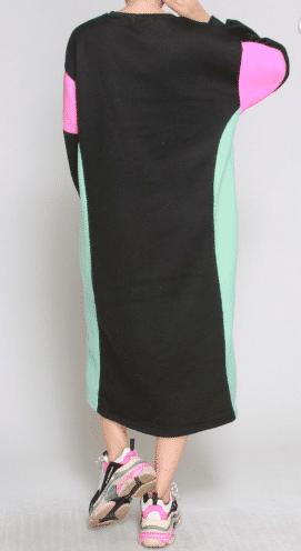 Liz Color Block long sleeve sweater Dress for women 2