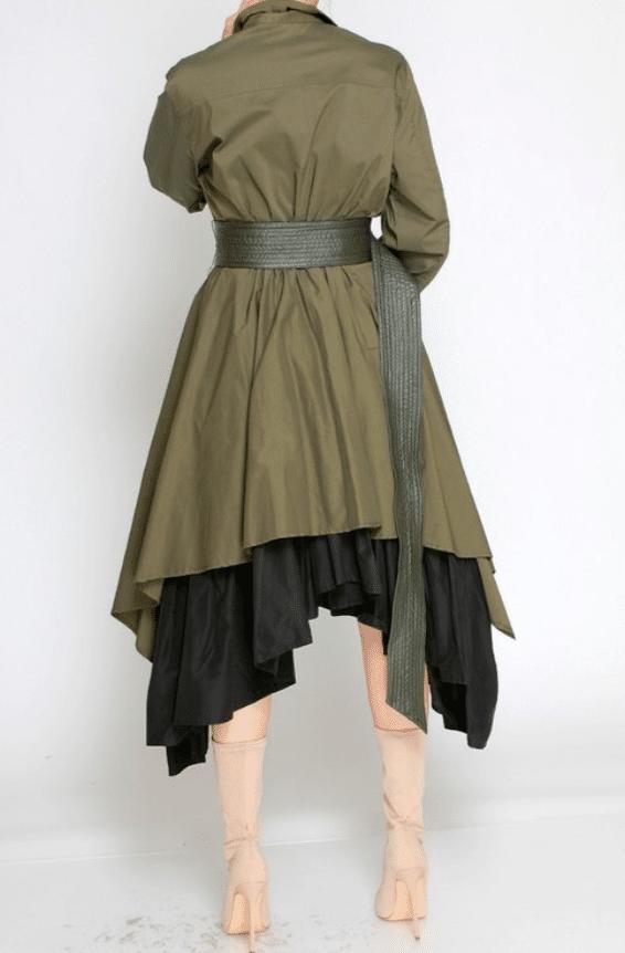 Titi Asymmetric Layered Ruffle Midi Dress