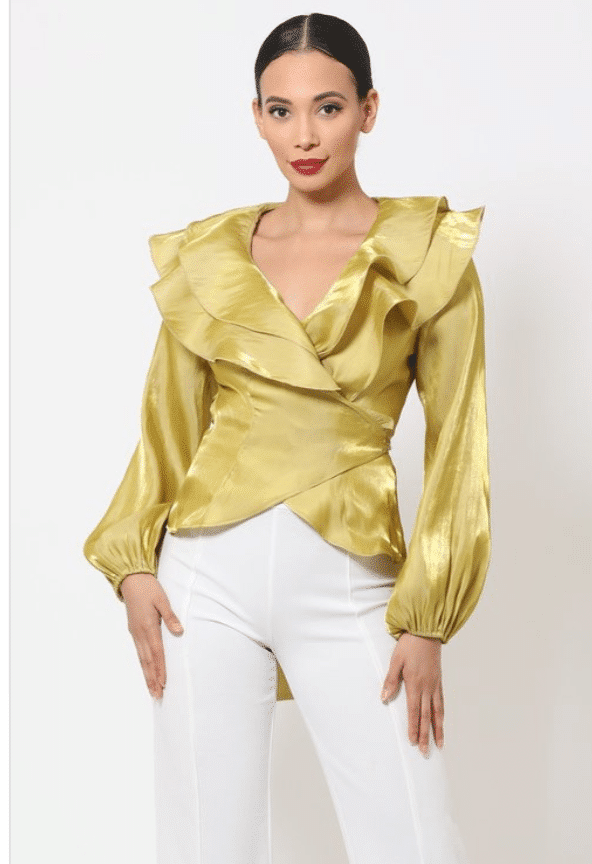 Gold Evelyn Wrap Style Shiny Ruffle Blouse For Fall Winter Spring Summer