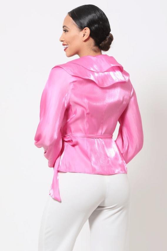 Temi Wrap Style Shiny Ruffle Blouse