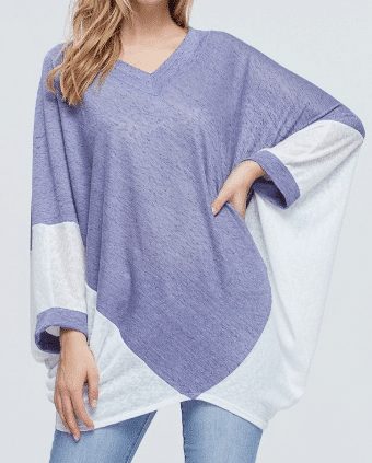 Heidi 2 -Tone Loose Fitted Cape Top - PLUS SIZE