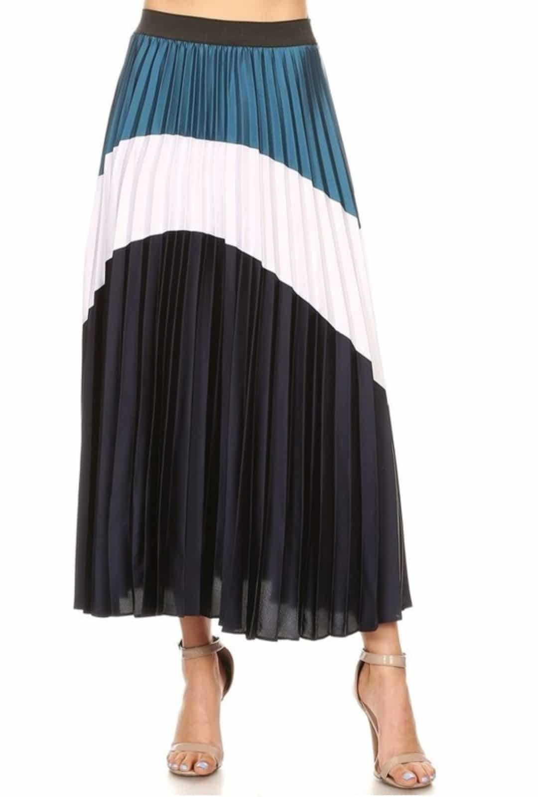 Blue White Irene Colorblock Pleated Skirt For Fall Winter Spring Summer