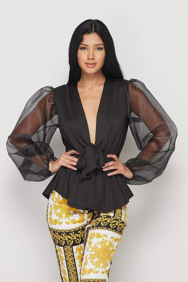 Tracy Bishop Sleeve Deep V Strikband Nek bloes
