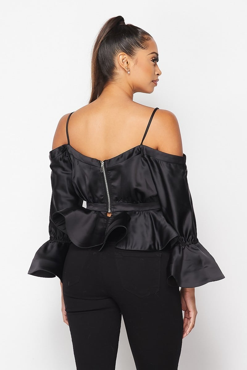 Kandi Spaghetti Strap Off Shoulder Peplum Blouse