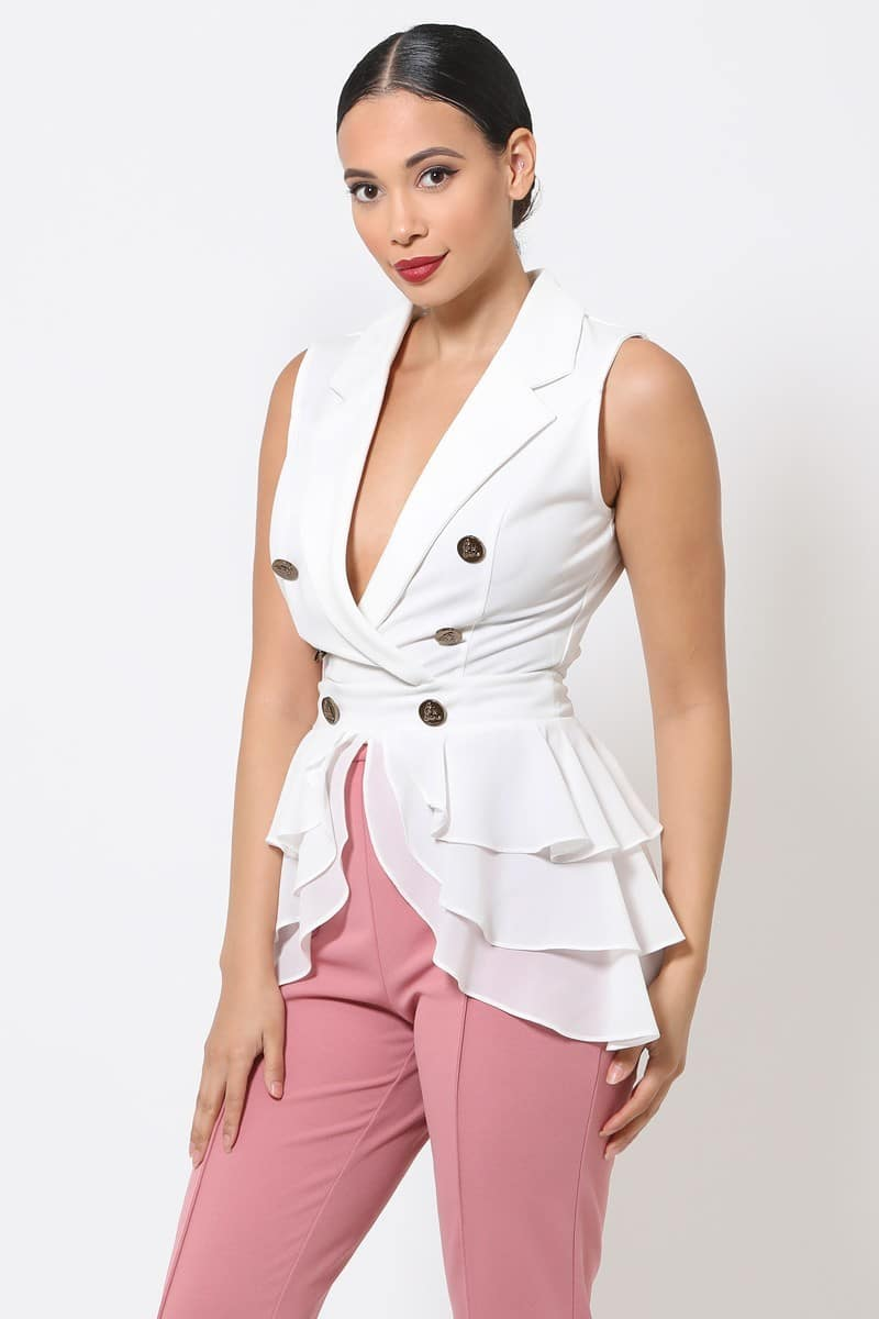 Kylie Double Breasted Layered Peplum Top
