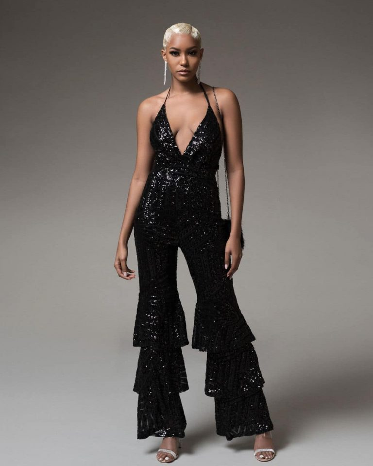 Black Micah Jumpsuit For Fall Winter Spring Summer