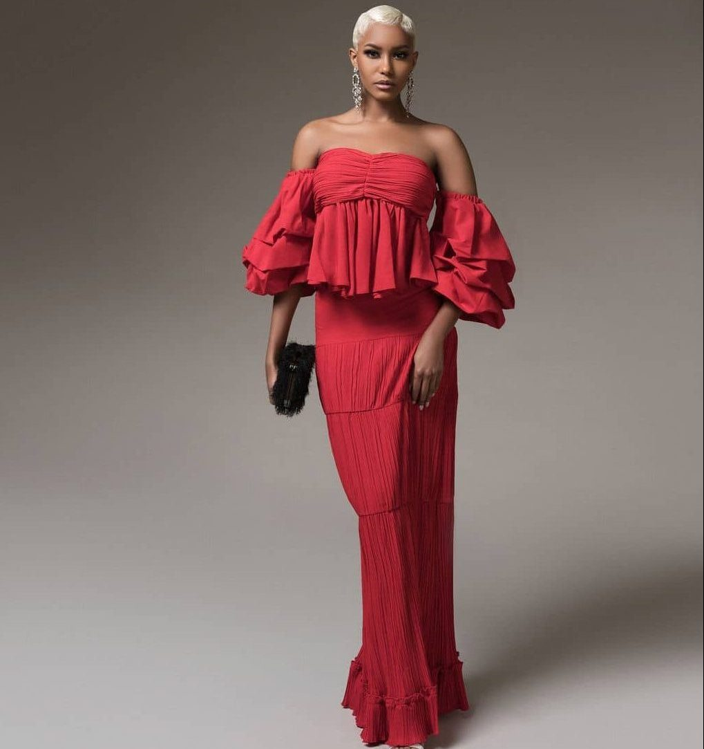 Red Diana Ruffle Pleated Skirt and Top Set For Fall Winter Spring Summer