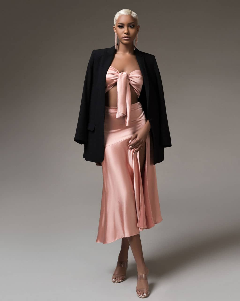 Peach Blush Pink Marilyn High Slit Satin Skirt & Tie Front Satin Top Set For Fall Winter Spring Summer