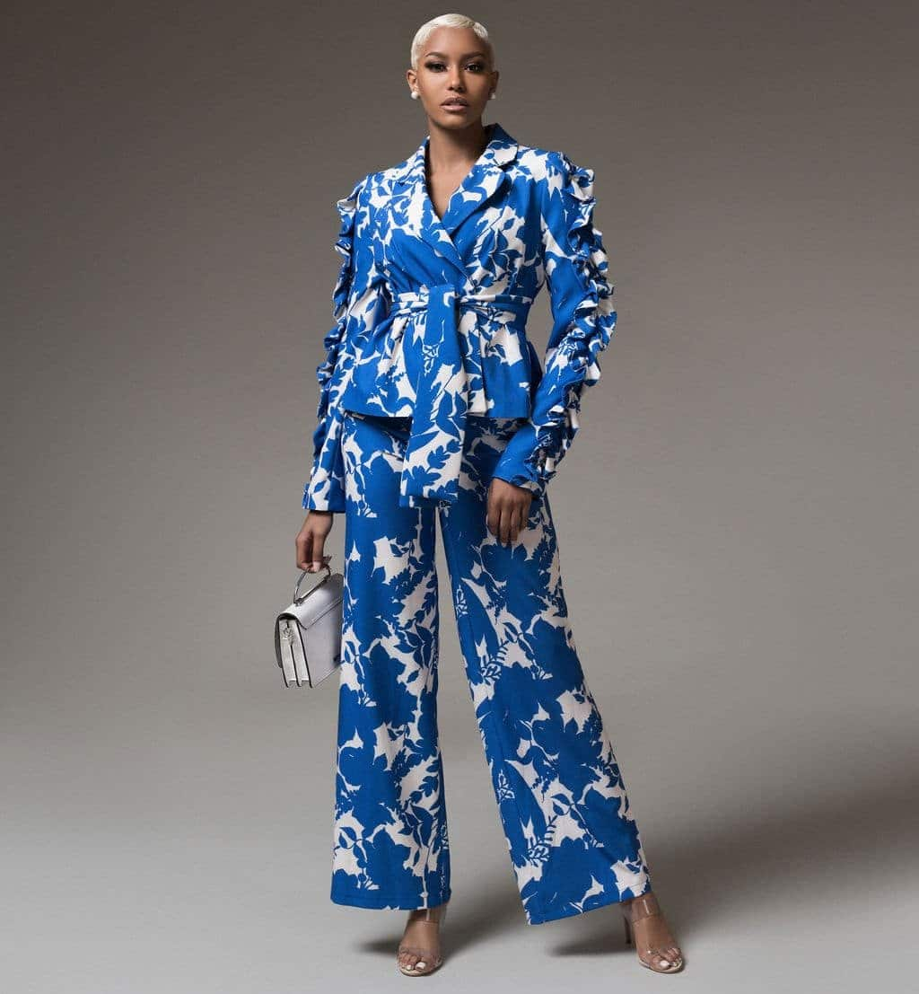 Ms Independent Blue and White Floral Suit Set