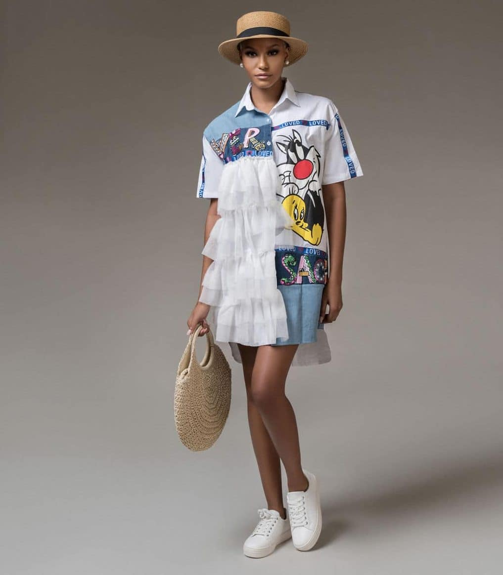 Farewell 2019 Embellished Denim and White Embellished Shirt Dress